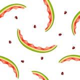 Sömlös modell av vattenmelonskal och frö på den vita backgrouen Arkivbilder