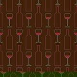 Sömlös modell av vinexponeringsglas, flaskor av vin Vin-danande avsmakning sommelier vektor illustrationer