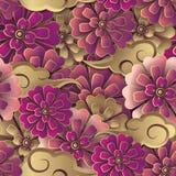 Sömlös modell b för kinesisk rosa röd guld- blomma och för spiralt moln royaltyfri illustrationer