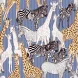 Sömlös modell, bakgrund med den vuxna sebran och giraff och sebra och giraffgröngölingar också vektor för coreldrawillustration royaltyfri illustrationer