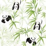 Sömlös modell, bakgrund med pandor och bambu royaltyfri illustrationer