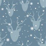 Sömlös modell, deers och snö royaltyfri illustrationer