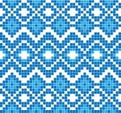 Sömlös modell eller prydnad av broderi Abstrakt mosaik av blåttfärg Royaltyfri Bild
