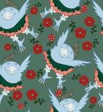 Sömlös modell - en fågel i en kjol och knickers som flyger i bra, blidkar vektor illustrationer