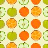 Sömlös modell för äpplen och för apelsiner PIXELbroderi vektor illustrationer