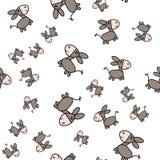 Sömlös modell för åsna i tecknad filmstil stock illustrationer