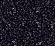 Sömlös modell för Ð-¡ hristmas i guld- och mörkt - blått tecknad hand royaltyfri illustrationer