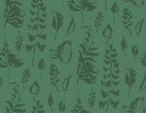 Sömlös modell för örter Målade sidor i gröna färger Dragen bakgrund för vektor hand Royaltyfria Foton