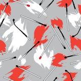 Sömlös modell för Abstact Matchstick med röda flammor stock illustrationer