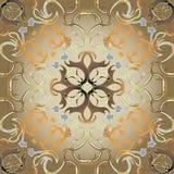 Sömlös modell för abstrakt antik barock vektor för stil guld- Dekorativ utsmyckad damast bakgrund för tappning Blom- idérik repet royaltyfri illustrationer