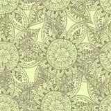 Sömlös modell för abstrakt blomma, grå färgöversikter på gul bakgrund Royaltyfria Bilder