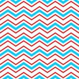 Sömlös modell för abstrakt geometrisk sparre i blå rött och vitt, vektor royaltyfri illustrationer