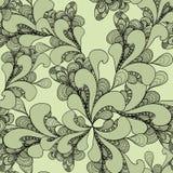 Sömlös modell för abstrakt klotter på oliv Arkivfoton