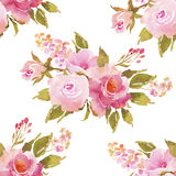 Sömlös modell för abstrakt rosa rosblommavattenfärg kokkärlar royaltyfri illustrationer