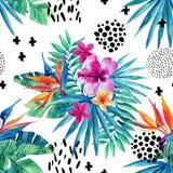 Sömlös modell för abstrakt tropisk sommar royaltyfri illustrationer