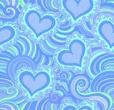 Sömlös modell för abstrakt vektor med blåa dekorativa hjärtor Royaltyfri Foto