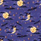 Sömlös modell för allhelgonaafton med månen royaltyfri illustrationer