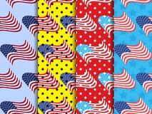 Sömlös modell för amerikanska flaggan med svarta prickar Prickig bakgrund för popkonst vektor vektor illustrationer