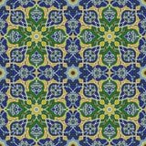 Sömlös modell för Arabesque i blått och gräsplan stock illustrationer