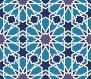 Sömlös modell för Arabesque i blått och grå färger stock illustrationer