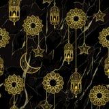 Sömlös modell för arabisk guld- lykta royaltyfri illustrationer