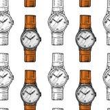 Sömlös modell för armbandsur eller klockarmbandklocka, klassisk man med armbandet tillbehör för tidspårning Viktoriansk era stock illustrationer