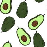 Sömlös modell för avokado vid handteckningen på vita bakgrunder Royaltyfria Bilder