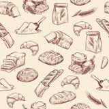 Sömlös modell för bageri Brödgiffelbakelser bakelse somvete släntrar skivad vit rulle dragen tappning, skissar royaltyfri illustrationer