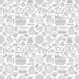 Sömlös modell för bageri, matvektorbakgrund av svart vit färg Konfektprodukter gör linjen symboler - kaka tunnare stock illustrationer