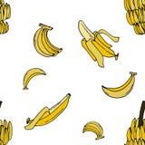 Sömlös modell för banan vid handteckningen på vita bakgrunder Royaltyfri Bild