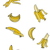 Sömlös modell för banan vid handteckningen på vita bakgrunder Royaltyfria Foton