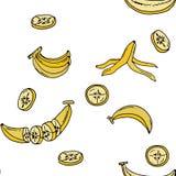 Sömlös modell för banan vid handteckningen på vita bakgrunder Royaltyfri Fotografi
