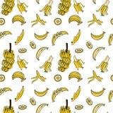 Sömlös modell för banan vid handteckningen på vita bakgrunder Arkivbilder