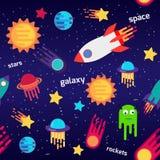 Sömlös modell för barntecknad filmutrymme med raket, planeter, stjärnor, den mörka bakgrunden för natthimmel också vektor för cor vektor illustrationer
