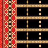 Sömlös modell för barock gräns med guld- band och kedjor Gjord randig lapp för halsdukar, tryck, tyg royaltyfri illustrationer