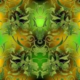 Sömlös modell för barock utsmyckad grön vektor Dekorativ lyx Royaltyfri Illustrationer