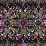 Sömlös modell för barocka färgrika blom- gränser Dekorativ antik vektorbakgrund Barock damast prydnad för tappningkrusidull stock illustrationer