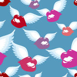 Sömlös modell för bevingad kyss Kyss med vingbakgrund Fotografering för Bildbyråer