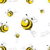 Sömlös modell för bin också vektor för coreldrawillustration Bild av flygbin Roliga bin på en vit bakgrund royaltyfri illustrationer