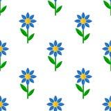 Sömlös modell för blå blommalägenhetsymbol Royaltyfria Bilder