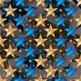 Sömlös modell för blå guld- symmetri för stjärnakläderband royaltyfri illustrationer