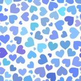 Sömlös modell för blå hjärta på valentindag royaltyfri illustrationer