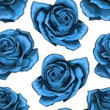 Sömlös modell för blå rostappning Blåa rosa blommor som isoleras på bakgrund vektor illustrationer