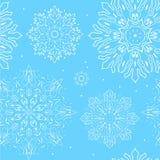Sömlös modell för blå snöflinga Royaltyfria Foton