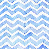 Sömlös modell för blå vattenfärg med blåa sicksackband, hand som dras med skönhetsflar, och vattenfärgstänk Fyrkantig vävdesign, Royaltyfri Bild