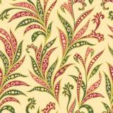 Sömlös modell för blom- blad Filial med sidaprydnaden Arabi royaltyfri illustrationer