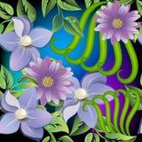 Sömlös modell för blom- färgrik vektor 3d Glödande bakgrund för dekorativa krusidullar Lila blomningblommor med pärlagemstones vektor illustrationer