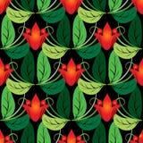 Sömlös modell för blom- röd tulpanvektor stock illustrationer