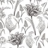 Sömlös modell för blom- tappning med vårblommor royaltyfri illustrationer