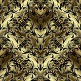 Sömlös modell för blom- utsmyckad guld- barock vektor 3d Dekorativ bakgrund för antik etnisk stil Blom- damast prydnad för tappni stock illustrationer